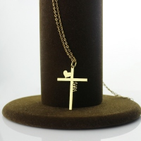 Personalized Gold Plated Silver Cross Name Necklace with Heart
