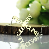 Personalized Glossy Two Names Cross Necklace Sterling Silver