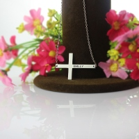 Engraved Silver Latin Cross Name Necklace 1.6""