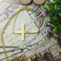 Gold Plated Silver Latin Cross Necklace Engraved Name 1.25""