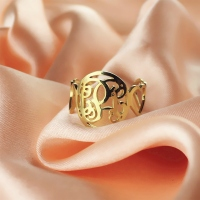 Monogram Ring with Heart Band Name Initials Ring Gold Plated Silver