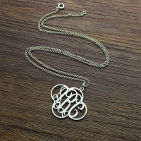 Personalized Cut Out Clover Monogram Necklace Sterling Silver