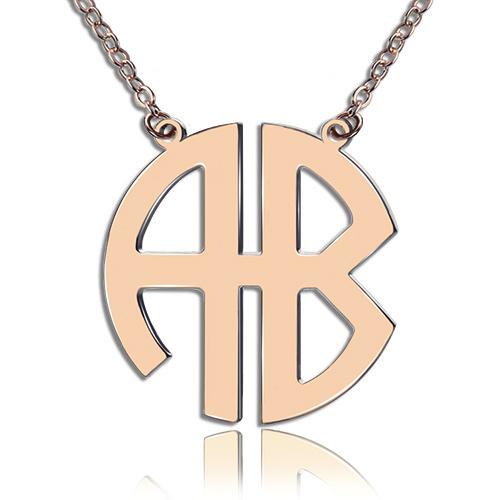 5cec0ccce Rose Gold 2 Initial Block Monogram Pendant Necklace. $ 51.65 $ 30.99