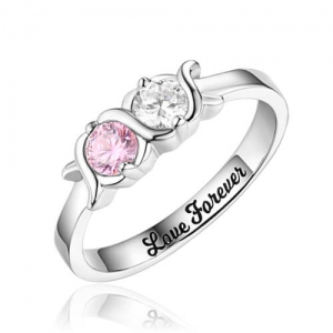 Engraved 2 Birthstones XoXo Love Ring Sterling Silver
