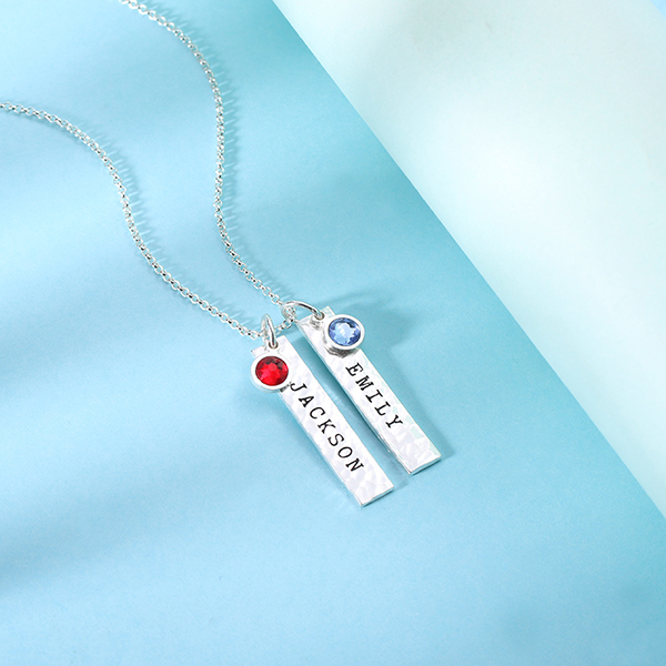Engraved Hammered Bar Necklace With Birthstones Pure Silver