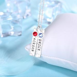 Personalisierte Gehämmerte Stangenkette mit Geburtssteinen in  Reinem Silber