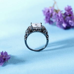 Skull Black Plated Ring With Square Birthstones In Silver