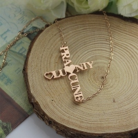 Personalized Two Name Cross Necklace Rose Gold Plated 925 Silver