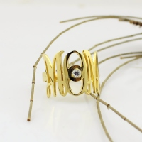 Custom Monogram Initial Birthstone Ring For Mom Gold Plated