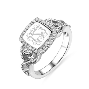 Women's Engraved Classic Monogram Ring