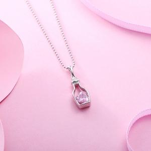Personalisierte Flaschenpost Halskette mit Herzgeburtsstein in Sterling Silber