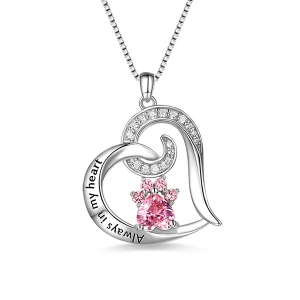 "Engraved ""Always in My Heart"" Paw Print Birthstone Memorial Necklace"