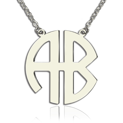 two initial block monogram pendant necklace solid white gold. Black Bedroom Furniture Sets. Home Design Ideas