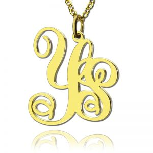 Personalized Solid Gold Vine Font 2 Initial Monogram Necklace