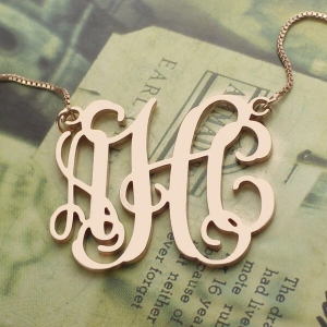 Personalized Rose Gold Monogram Pendant Necklace