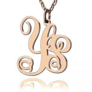 Personalized Rose Gold Plated Vine Font 2 Initial Monogram Necklace