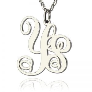 Personalized Solid White Gold Vine Font 2 Initial Monogram Necklace