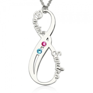 Birthstone Infinity Eternity Necklace Double Names Sterling Silver