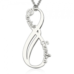 Custom Vertical Infinity Names Necklace Sterling Silver