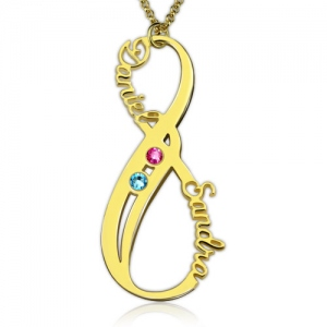 Unique Vertical Infinity 2 Names Necklace with Birthstones In Gold