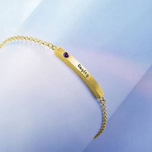 4 Sided Personalised Birthstone Bar Name Bracelet Gold Plated