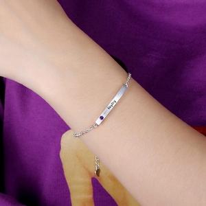 4 Sided Personalised Birthstone Bar Name Bracelet Sterling Silver