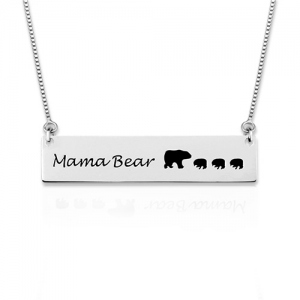 Personalized Mama and Bear Bar Necklace 2-5 Bears Sterling Silver
