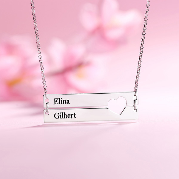 0a30e7425773d9 Engravable Double Bar Necklace with Heart Cutout In Silver