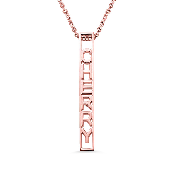 d96bf622c70f5 Personalized Special 3D Bar Necklace In Rose Gold