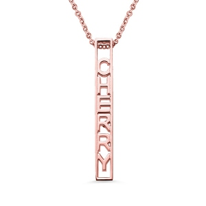 Personalized Special 3D Bar Necklace In Rose Gold