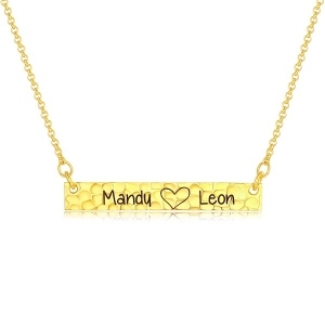 Customized Hammered Name Bar Necklace In Gold