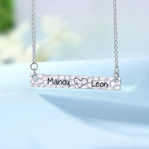 engraved name bar necklace