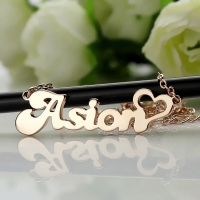 BANANA Font Heart Shape Included Name Necklace