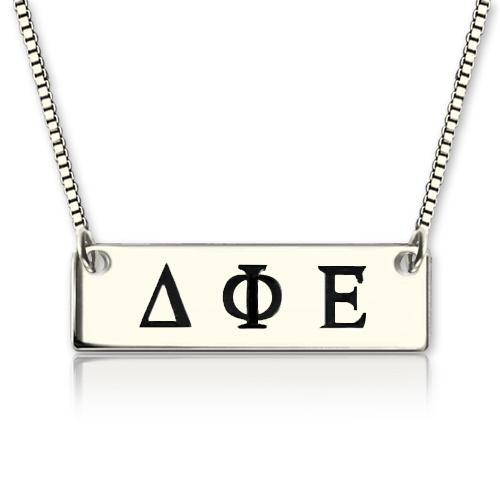 Custom Alpha Gamma Delta Greek Letter Sorority Bar Necklace