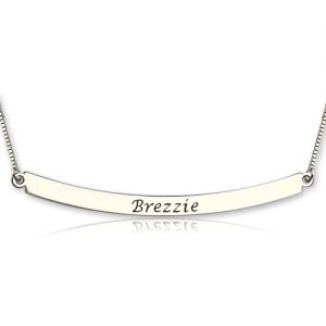 Curved Bar Pendant Name Necklace Sterling Silver