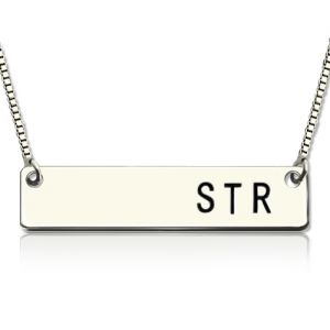 Sterling Silver Women's Initial Bar Necklace