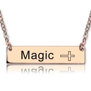 Engraved Bar Name Necklace with Icon Rose Gold
