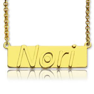Custom Nameplate Bar Necklace 18K Gold Plated