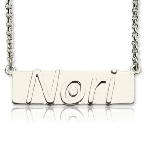 Personalized Nameplate Bar Necklace Sterling Silver