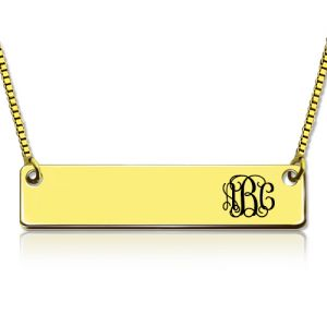 Exquisite Personalized Gold Bar Monogram Initial Necklace