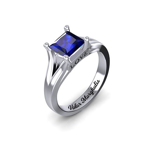 Princess Cut Birthstone Ring Wedding Birthday Gift In Silver