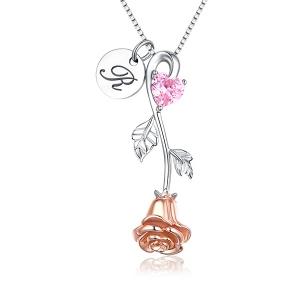 Rosa Herz Geburtsstein Halskette mit einem Initiale Rundemarker