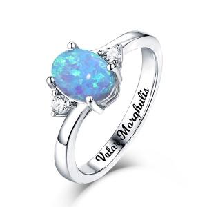 Gravierter Sterling Silber Blau Oval Opal Ring