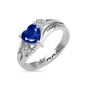 Cubic Zirconia Engraved Heart Birthstone Ring