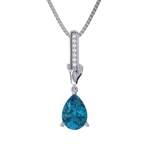 Special Personalize Drop Shape Birthstone Necklace Sterling Silver