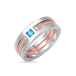 Custom 2 Tone Birthstone Ring Sterling Silver 925