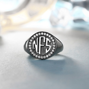 Personalized Circle Monogram CZ Ring Black plated