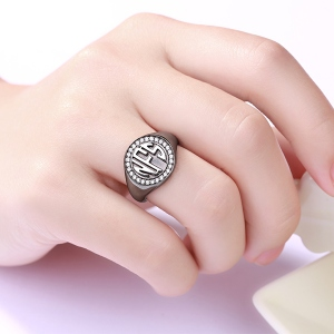Personalised Circle Monogram CZ Ring Black plated