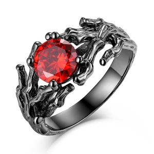 Branch Design Birthstone Black Plating Ring