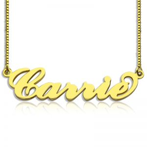 Gold Sex and The City Carrie Name Necklace Box Chain